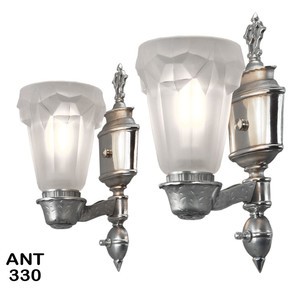 American-Art-Deco-Sconces-with-Heavy-Cast-Glass-French-Shades-(ANT-330)