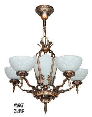 Antique-Restored-Red-Bronzed-Finished-Art-Deco-Chandelier-(ANT-335)