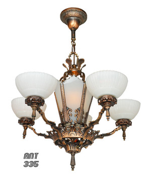 Antique Restored Red-Bronzed Finished Art Deco Chandelier (ANT-335)