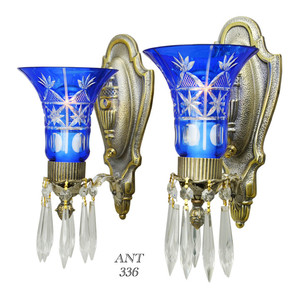 Art Deco - Lovely Pair of 1920-30 Art Deco Wall Sconces (ANT-336)