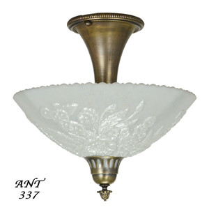 Antique Opal Glass Bowl Shade Ceiling Light Fixture Semi Flush Mount (ANT-337)