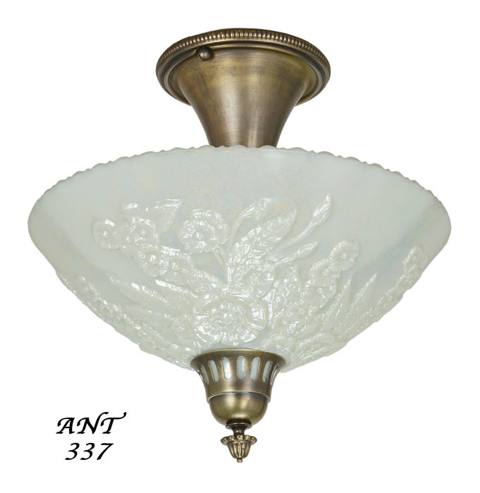antique opal glass bowl shade ceiling light fixture semi flush mount ant 337. Black Bedroom Furniture Sets. Home Design Ideas