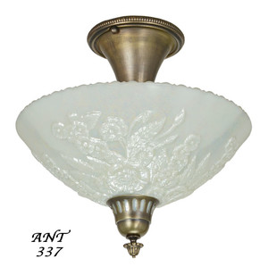 Antique-Opal-Glass-Bowl-Shade-Ceiling-Light-Fixture-Semi-Flush-Mount-(ANT-337)
