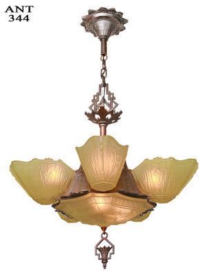 Art Deco 6 Shade Antique Chandelier by Markel (ANT-344)