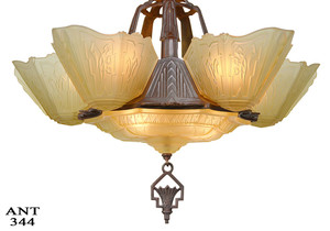 Art-Deco-6-Shade-Antique-Chandelier-by-Markel-(ANT-344)