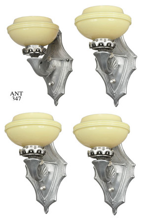 Art Deco Streamline Feel Set of FOUR Sconces (ANT-347)