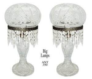 Outstanding Pair of LARGE Antique Fancy Decorative Cut Glass Table Lamps (ANT-350)