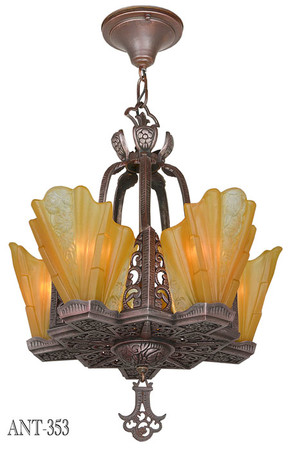 Art Deco Slip Shade Copper-Bronze Finish Chandelier (ANT-353)