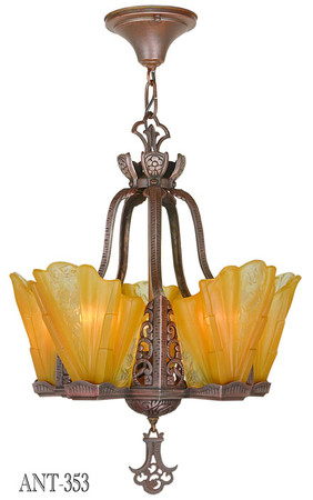 Art-Deco-Slip-Shade-Copper-Bronze-Finish-Chandelier-(ANT-353)