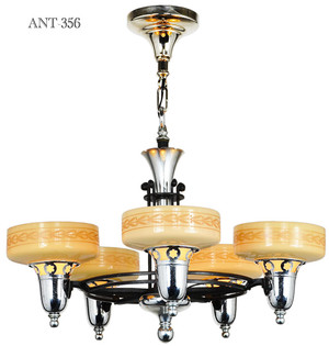 Late Streamline Art Deco Five Light Chandelier with Custard Shades (ANT-356)