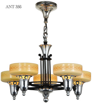 Late-Streamline-Art-Deco-Five-Light-Chandelier-with-Custard-Shades-(ANT-356)