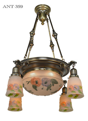 Edwardian Ceiling Bowl Light with Puffy Style Shades (ANT-359)