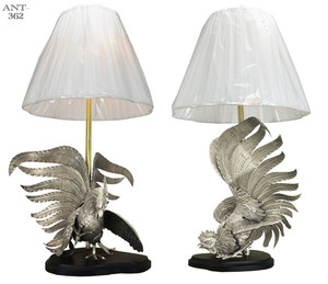 Vintage-Rooster-Table-Lamps-Pair-Hand-Made-Silver-Color-Bird-Figural-(ANT-362)