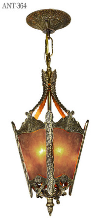 Antiqued Brass and Mica Panel Hall Lantern Pendant (ANT-364)