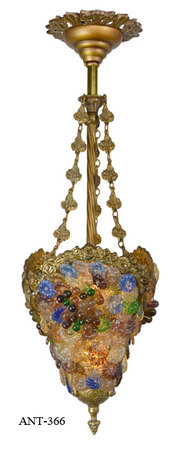 Antique Victorian Fruit Glass Pendant Ceiling Light (ANT-366)