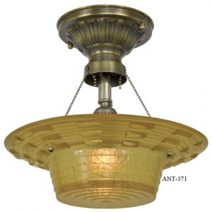 Antique Amber Glass Art Deco Bowl Shade Ceiling Light (ANT-371)
