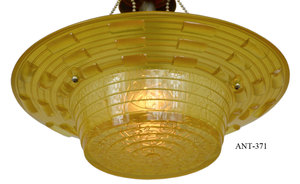 Antique-Amber-Glass-Art-Deco-Bowl-Shade-Ceiling-Light-(ANT-371)
