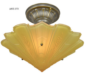 Antique Impressed Glass Art Deco Bowl Shade Ceiling Light (ANT-373)