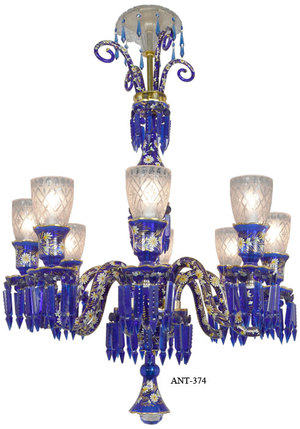 Antique 8 Light Chandelier Cobalt Blue Bohemian Glass and Crystals (ANT-374)