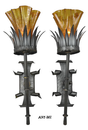 Antique Pair of Gothic Style Wall Sconce Lights c1920-30 (ANT-376)