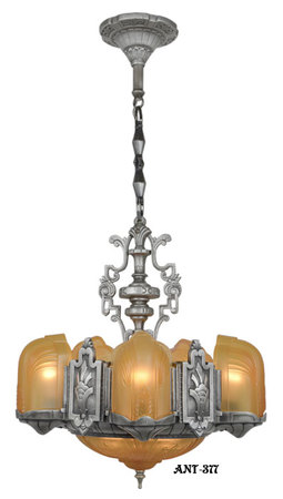 Art Deco Slip Shade 6 Light Chandelier (ANT-377)