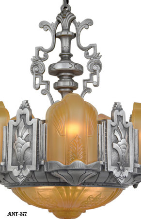 Art-Deco-Slip-Shade-6-Light-Chandelier-(ANT-377)