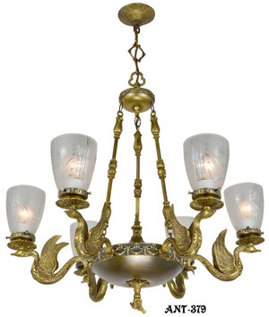 Antique Vintage Neo-Rococo French Swan Motif Victorian Chandelier (ANT-379)