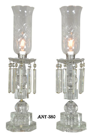 Outstanding Pair Of period Edwardian Cut Crystal Hurricane Lamps (ANT-380)