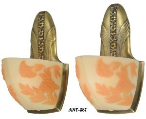 Art Deco Wall Sconces with Cameo Slip Shades Scarce Pair Moe Bridges (ANT-387)