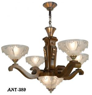 Art Deco French Ezan Style Icicle Chandelier with 4 Arm Wooden Body (ANT-389)