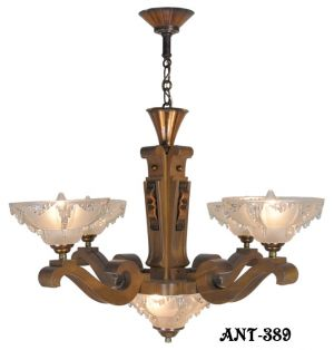 Art-Deco-French-Ezan-Style-Icicle-Chandelier-with-4-Arm-Wooden-Body-(ANT-389)