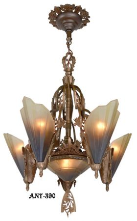 Antique Art Deco Slip Shade Soleure 6-Light Chandelier (ANT-390)