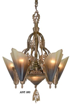 Antique-Art-Deco-Slip-Shade-Soleure-6-Light-Chandelier-(ANT-390)