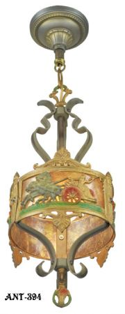 Antique-Americana-Pendant-Light-Roman-Style-Horses-and-Chariot-Scenes-(ANT-394)