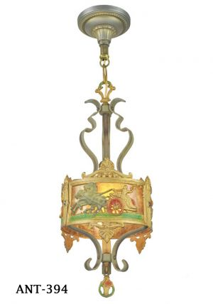 Antique Americana Pendant Light Roman Style Horses and Chariot Scenes (ANT-394)