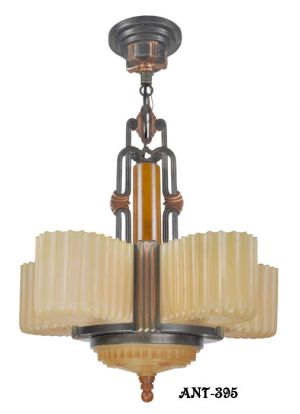 Fine Streamline Art Deco five light chandelier by Markel (ANT-395)