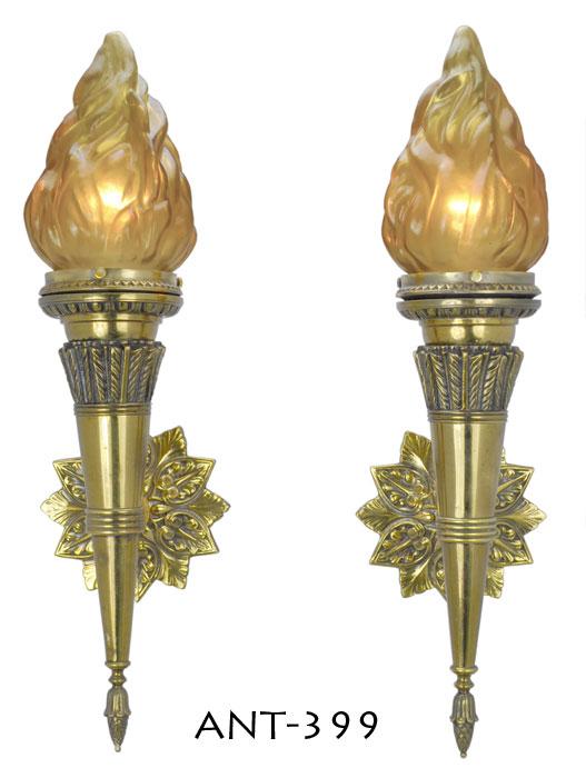 Pair Of Antique Flame Porch Or Hallway Sconces Ant 399