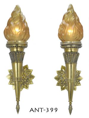 Pair of Antique Flame porch or hallway sconces (ANT-399)
