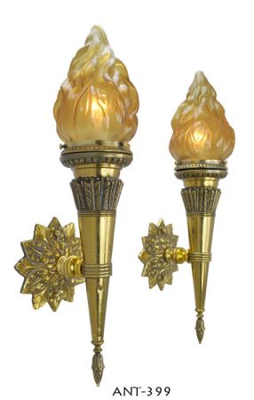 Pair-of-Antique-Flame-porch-or-hallway-sconces-(ANT-399)