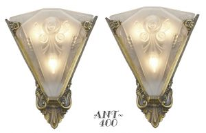 Very-LARGE-and-important-Pair-of-sconces-with-antique-french-shades-(ANT-400)