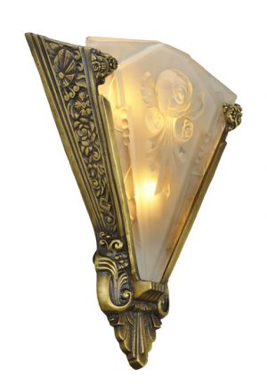 Very LARGE and important Pair of sconces with antique french shades (ANT-400)