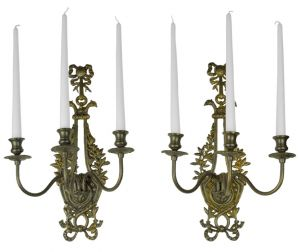 Victorian Neo-Rococo Pair of Candelabrums Wall Sconces Candle Holders (ANT-401)