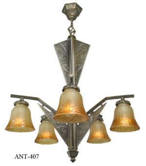 French-Art-Deco-6-Light-Chandelier-(ANT-407)