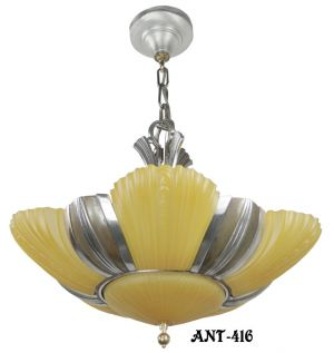 "Antique Art Deco Mid-West Mnf ""Chesterton Series"" 6 Light chandelier with original shades (ANT-416)"