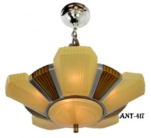Antique Art Deco Mid-West Mnf Beverly 6 Light chandelier with original shades (ANT-417).