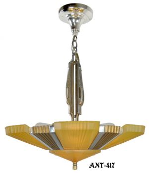 Antique-Art-Deco-Mid-West-Mnf-Beverly-6-Light-chandelier-with-original-shades-(ANT-417)