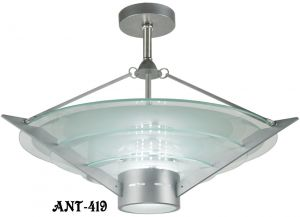 "Mid-century Modern ""California Approved"" Tiered Glass Chandelier (ANT-419)"