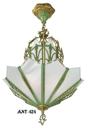 Outstanding-Art-Deco-Bevelled-flat-shade-Chandelier-(ANT-424)