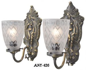 "Antique Edwardian Pair of ""Venus"" Wall Sconces (ANT-426)"