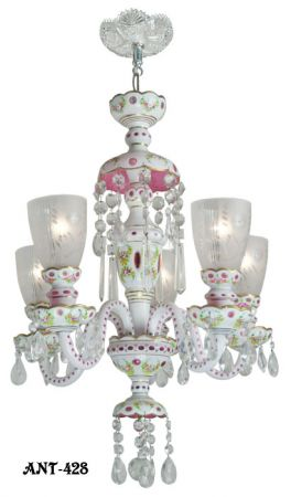 Antique-Bohemian-Glass-5-Arm-Chandelier-Circa-1920---1930-White-Pink-(ANT-428)